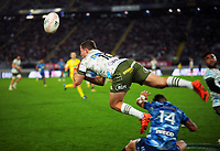 Blues' Bryce Heem takes out Highlanders' Mitch Hunt in mid-air during the Super Rugby Tran-Tasman final between the Blues and Highlanders at Eden Park in Auckland, New Zealand on Saturday, 19 June 2020. Photo: Dave Lintott / lintottphoto.co.nz