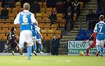 St Johnstone v Partick Thistle…27.01.18…  McDiarmid Park…  SPFL<br />Ryan Edwards scores Partick's third goal<br />Picture by Graeme Hart. <br />Copyright Perthshire Picture Agency<br />Tel: 01738 623350  Mobile: 07990 594431