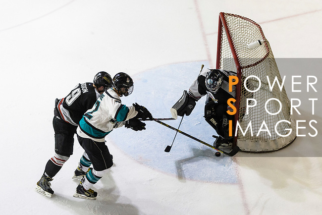 Jim Fanstone of Cathay Flyers (L) battle in the goal mouth with Jimmy Bjennmyr of Nordic Vikings (R) during the Mega Ice Hockey 5s match between Cathay Flyers and Nordic Vikings on May 03, 2018 in Hong Kong, Hong Kong. Photo by Marcio Rodrigo Machado / Power Sport Images