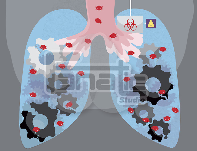Illustrative image of human lungs infected by virus