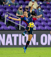 ORLANDO, FL - FEBRUARY 24: Alex Morgan #13 of the USWNT controls the ball during a game between Argentina and USWNT at Exploria Stadium on February 24, 2021 in Orlando, Florida.