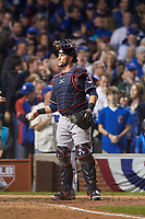 Cleveland Indians catcher Yan Gomes (10) in the ninth inning during Game 3 of the Major League Baseball World Series against the Chicago Cubs on October 28, 2016 at Wrigley Field in Chicago, Illinois.  (Mike Janes/Four Seam Images)