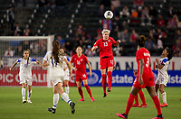 CARSON, CA - FEBRUARY 07: Sophie Schmidt #13 of Canada jumps high for a ball during a game between Canada and Costa Rica at Dignity Health Sports Complex on February 07, 2020 in Carson, California.