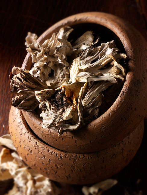 Dried  Maitake mushrooms stock photos