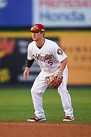 Tri-City ValleyCats second baseman Brooks Marlow (5) during a game against the Brooklyn Cyclones on September 1, 2015 at Joseph L. Bruno Stadium in Troy, New York.  Tri-City defeated Brooklyn 5-4.  (Mike Janes/Four Seam Images)