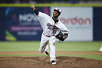 Kannapolis Cannon Ballers relief pitcher Yoelvin Silven (37) in action against the Carolina Mudcats at Atrium Health Ballpark on June 9, 2021 in Kannapolis, North Carolina. (Brian Westerholt/Four Seam Images)