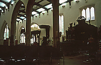 London:  St. Helen Bishopgate--view of South Nave from Nun's Choir, or Nave.  Photo '90.