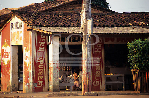 Altamira, Brazil. Roadside bar and grocery store with tiled roof. Para State.