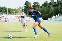 CARY, NC - SEPTEMBER 12: Carson Pickett #4 of the NC Courage attacks the ball during a game between Portland Thorns FC and North Carolina Courage at Sahlen's Stadium at WakeMed Soccer Park on September 12, 2021 in Cary, North Carolina.