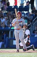 Matt Whatley (40) of the Spokane Indians bats against the Hillsboro Hops at Ron Tonkin Field on July 22, 2017 in Hillsboro, Oregon. Spokane defeated Hillsboro, 11-4. (Larry Goren/Four Seam Images)