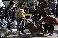 Pictured: Young migrant children seem to get amused with a pet dog Friday 26 February 2016<br /> Re: Hundreds of refugees have temporarily camped at Victoria Square in central Athens, Greece.