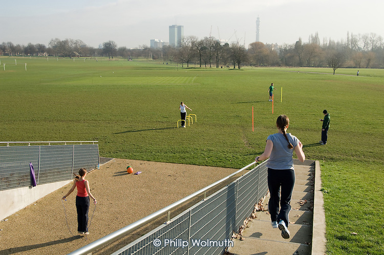 Circuit training at The Hub, Regents Park, London