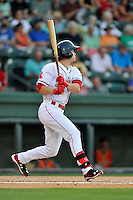 Center fielder Andrew Benintendi (2) of the Greenville Drive bats in his first home game against the Greensboro Grasshoppers on Tuesday, August 25, 2015, at Fluor Field at the West End in Greenville, South Carolina. Benintendi is a first-round pick of the Boston Red Sox in the 2015 First-Year Player Draft out of the University of Arkansas. Greensboro won, 3-2. (Tom Priddy/Four Seam Images)