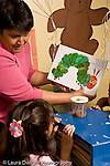 Education Preschool 3-4 year olds female teacher showing girl picture book about a caterpillar turning into a butterfly vertical nature study jar with chrysallis nearby