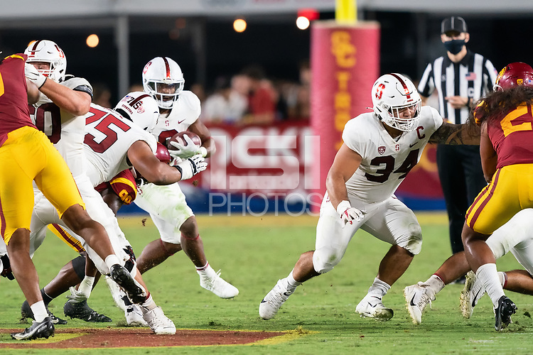 LOS ANGELES, CA - SEPTEMBER 11: Houston Heimuli during a game between University of Southern California and Stanford Football at Los Angeles Memorial Coliseum on September 11, 2021 in Los Angeles, California.
