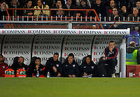 Coach Juergen Klinsmann  (r,USA), during the friendly match Italy against USA at the Stadium Luigi Ferraris at Genoa Italy on february the 29th, 2012.