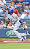 Chicago Cubs center fielder Dexter Fowler (24) swings at a pitch during a game against the Atlanta Braves on July 18, 2015 in Atlanta, Georgia. The Cubs defeated the Braves 4-0. (Tony Farlow/Four Seam Images)