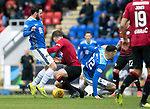 St Johnstone v St Mirren…27.10.18…   McDiarmid Park    SPFL<br />Drey Wright and Tony Watt lose out to<br />Picture by Graeme Hart. <br />Copyright Perthshire Picture Agency<br />Tel: 01738 623350  Mobile: 07990 594431