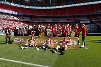 29th May 2021; Wembley Stadium, London, England; English Football League Championship Football, Playoff Final, Brentford FC versus Swansea City; Brentford players celebrate their 2-0 win and promotion to the Premier League