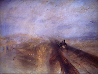 """J.M.W. Turner:  """"Rain, Steam and Speed""""--the Great Western Railway. National Gallery-London.  Reference only."""