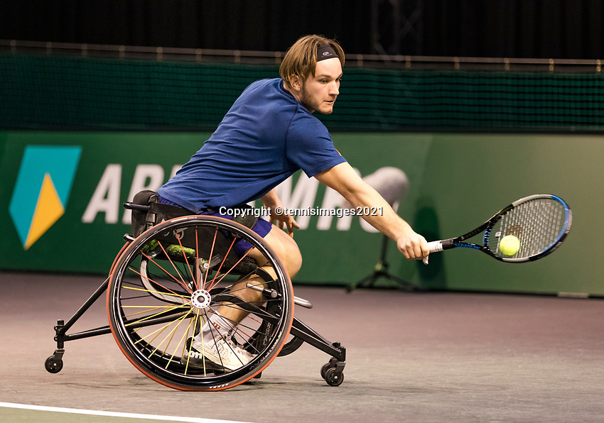 Rotterdam, The Netherlands, 5 march  2021, ABNAMRO World Tennis Tournament, Ahoy,  Quater final wheelchair: Jef Vandorpe (BEL).<br /> Photo: www.tennisimages.com/henkkoster