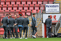 Brighton & Hove Albion Under 21s players ahead of the EFL Trophy behind closed doors match between Leyton Orient and Brighton & Hove Albion Under 21s at the Matchroom Stadium, London, England played without supporters able to attend due to ongoing covid-19 government guidelines on 8 September 2020. Photo by Vince  Mignott.