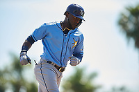 Tampa Bay Rays right fielder Guillermo Heredia (54) rounds the bases after hitting a home run in the top of the first inning during a Grapefruit League Spring Training game against the Baltimore Orioles on March 1, 2019 at Ed Smith Stadium in Sarasota, Florida.  Rays defeated the Orioles 10-5.  (Mike Janes/Four Seam Images)