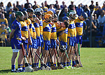 The Clare team stand for the anthem before their National League game against Waterford at Cusack Park. Photograph by John Kelly.