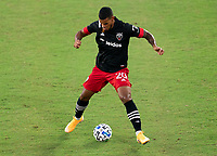 WASHINGTON, DC - SEPTEMBER 12: Gelmin Rivas #20 of D.C. United dribbles during a game between New York Red Bulls and D.C. United at Audi Field on September 12, 2020 in Washington, DC.