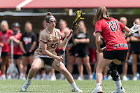 NEWTON, MA - MAY 14: Jenn Medjid #35 of Boston College on the attack as Caroline Mangan #27 of Fairfield University defends during NCAA Division I Women's Lacrosse Tournament first round game between Fairfield University and Boston College at Newton Campus Lacrosse Field on May 14, 2021 in Newton, Massachusetts.