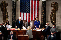 House Speaker Nancy Pelosi and Vice President Mike Pence preside over a Joint session of Congress to certify the 2020 Electoral College results on Capitol Hill in Washington, DC on January 6, 2020. <br /> Credit: Erin Schaff / Pool via CNP/AdMedia