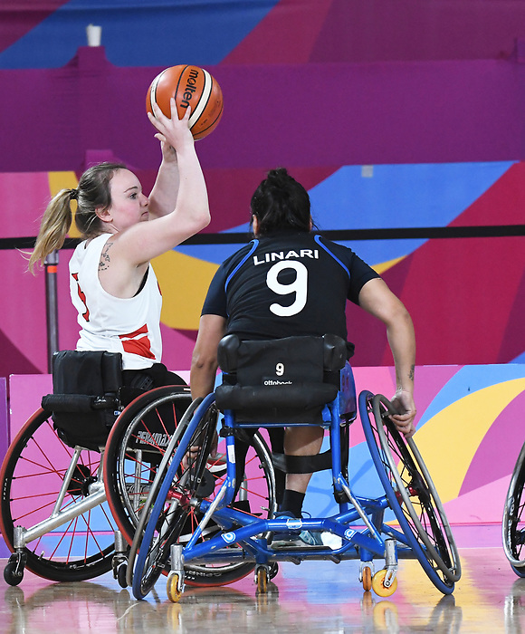 Elodie Tessier, Lima 2019 - Wheelchair Basketball // Basketball en fauteuil roulant.<br /> Women's wheelchair basketball competes against Argentina // Le basketball en fauteuil roulant féminin contre Argentine. 25/08/2019.