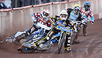 Heat 4: Rory Schlein (white), Piotr Swiderski (red), Richie Worrall (yellow) and Robert Mear (blue) - Lakeside Hammers vs Kings Lynn Stars, Elite League Speedway at the Arena Essex Raceway, Pufleet - 23/04/13 - MANDATORY CREDIT: Rob Newell/TGSPHOTO - Self billing applies where appropriate - 0845 094 6026 - contact@tgsphoto.co.uk - NO UNPAID USE.