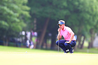 Luke Donald eyes up his putt on the 17th green during the BMW PGA Golf Championship at Wentworth Golf Course, Wentworth Drive, Virginia Water, England on 27 May 2017. Photo by Steve McCarthy/PRiME Media Images.