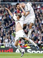 Real Madrid's Pepe (r) and Fabio Coentrao (c) and FC Barcelona's David Villa (l) during La Liga match.March 02,2013. (ALTERPHOTOS/Acero) /NortePhoto