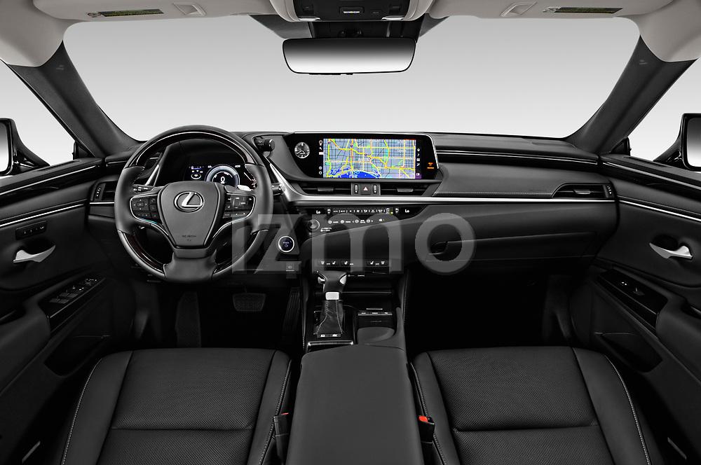 Stock photo of straight dashboard view of a 2020 Lexus ES 300h 4 Door Sedan