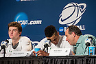 Mar. 28, 2015; Irish head coach Mike Brey talks to Zach Auguste as Steve Vasturia takes a question in the press conference following the 2015 NCAA Tournament regional final against Kentucky. (Photo by Matt Cashore/University of Notre Dame)