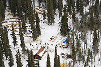 Aerial view of Gene L. Smith as he arrives and is checked in at the Rohn checkpoint during Iditarod 2008