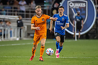 SAN JOSE, CA - JULY 24: Adam Lundqvist #3 of the Houston Dynamo dribbles the ball during a game between San Jose Earthquakes and Houston Dynamo at PayPal Park on July 24, 2021 in San Jose, California.