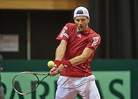 13-sept.-2013,Netherlands, Groningen,  Martini Plaza, Tennis, DavisCup Netherlands-Austria, second rubber,  Jurgen Melzer (AUT) <br /> Photo: Henk Koster