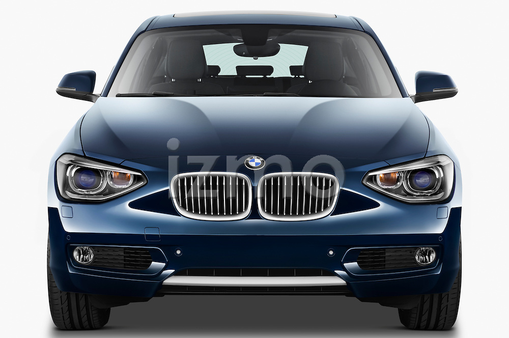 Straight front view of a 2011 - 2014 BMW 118d 5 Door hatchback.