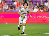 ORLANDO, FL - MARCH 05: Mana Iwabuchi #8 of Japan sprints during a game between Spain and Japan at Exploria Stadium on March 05, 2020 in Orlando, Florida.