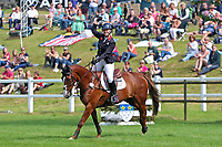5th September 2021; Bicton Park, East Budleigh Salterton, Budleigh Salterton, United Kingdom: Bicton CCI 5* Equestrian Event; Gemma Tattersall riding Chilli Knight punches the air with delight after her win