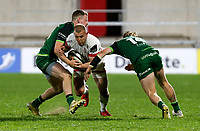 Friday 23rd April 2021; Will Addison is tackled Sean O'Brien and Ben O'Donnell during the first round of the Guinness PRO14 Rainbow Cup between Ulster Rugby and Connacht Rugby at Kingspan Stadium, Ravenhill Park, Belfast, Northern Ireland. Photo by John Dickson/Dicksondigital