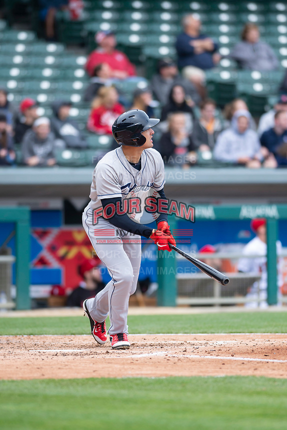 Columbus Clippers right fielder Trayce Thompson (24) during an International League game against the Indianapolis Indians on April 30, 2019 at Victory Field in Indianapolis, Indiana. Columbus defeated Indianapolis 7-6. (Zachary Lucy/Four Seam Images)