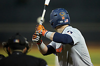 Kellen Sarver (18) of the Illinois Fighting Illini at bat against the Wake Forest Demon Deacons at David F. Couch Ballpark on February 16, 2019 in  Winston-Salem, North Carolina.  The Fighting Illini defeated the Demon Deacons 5-2. (Brian Westerholt/Four Seam Images)