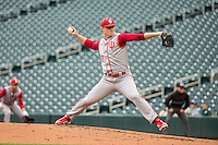 Luke Harrison (28) of the Indiana Hoosiers pitches during a 2015 Big Ten Conference Tournament game between the Michigan Wolverines and Indiana Hoosiers at Target Field on May 20, 2015 in Minneapolis, Minnesota. (Brace Hemmelgarn/Four Seam Images)