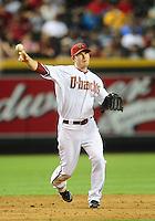Jun. 7, 2010; Phoenix, AZ, USA; Arizona Diamondbacks shortstop Stephen Drew against the Atlanta Braves at Chase Field. Mandatory Credit: Mark J. Rebilas-.