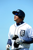 Detroit Tigers third baseman Miguel Cabrera #24 during a Spring Training game against the Tampa Bay Rays at Joker Marchant Stadium on March 29, 2013 in Lakeland, Florida.  (Mike Janes/Four Seam Images)