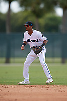 GCL Marlins second baseman Tevin Mitchell (4) during a Gulf Coast League game against the GCL Astros on August 8, 2019 at the Roger Dean Chevrolet Stadium Complex in Jupiter, Florida.  GCL Astros defeated GCL Marlins 4-2.  (Mike Janes/Four Seam Images)